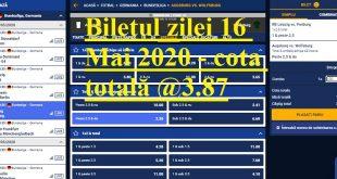 Biletul zilei 16 Mai 2020 - cota totală @3.87