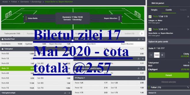 Biletul zilei 17 Mai 2020 - cota totală @2.57