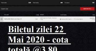 Biletul zilei 22 Mai 2020 - cota totală @3.80