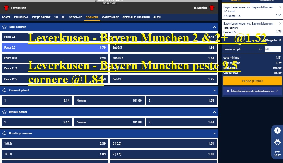 Leverkusen - Bayern Munchen 2 & 2+ @1.52 Leverkusen - Bayern Munchenpeste 9.5 cornere @1.84