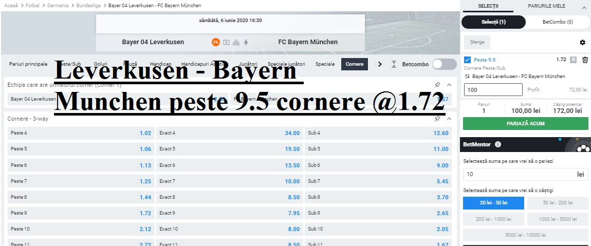 Leverkusen - Bayern Munchenpeste 9.5 cornere @1.72