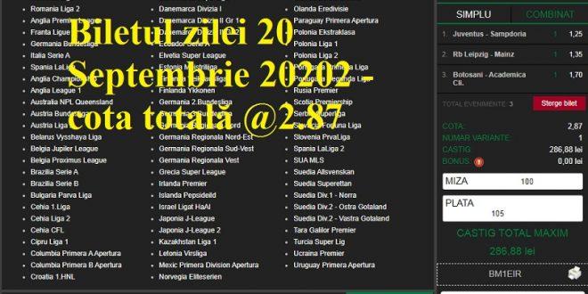 Biletul zilei 20 Septembrie 20202 - cota totală @2.87