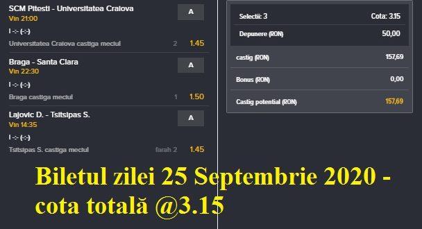 Biletul zilei 25 Septembrie 2020 - cota totală @3.15