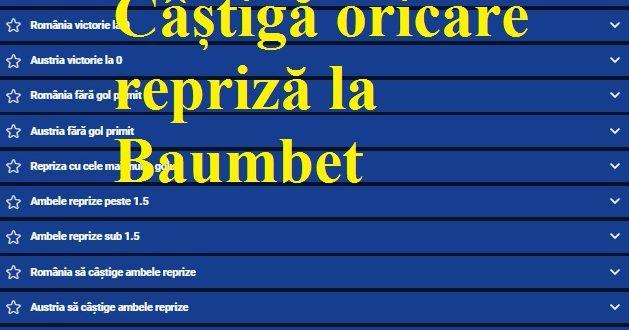 Câștigă oricare repriză la Baumbet