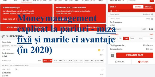 Moneymanagement explicat la pariuri - miza fixă și marile ei avantaje (în 2020)