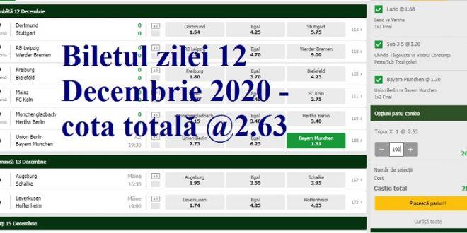 Biletul zilei 12 Decembrie 2020 - cota totală @2.63