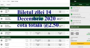 Biletul zilei 14 Decembrie 2020 - cota totală @2.50