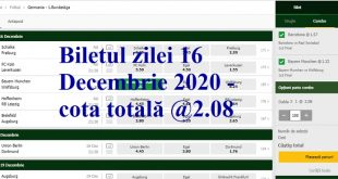 Biletul zilei 16 Decembrie 2020 - cota totală @2.08