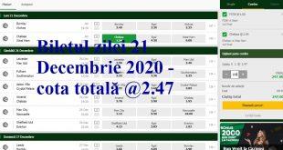 Biletul zilei 21 Decembrie 2020 - cota totală @2.47