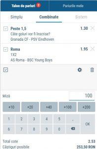Biletul zilei 3 Decembrie 2020 - cota totală @2.53 la Sportingbet