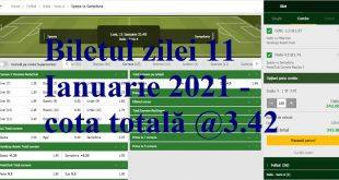Biletul zilei 11 Ianuarie 2021 - cota totală @3.42