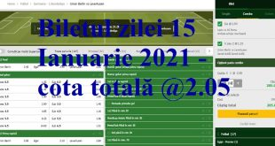 Biletul zilei 15 Ianuarie 2021 - cota totală @2.05