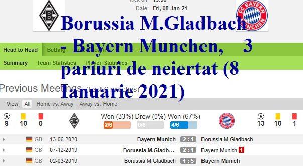 Borussia M.Gladbach - Bayern Munchen, 3 pariuri de neiertat (8 Ianuarie 2021)