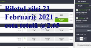 Biletul zilei 21 Februarie 2021 - cota totală @2.65