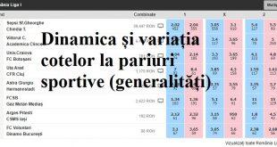 Dinamica și variația cotelor la pariuri sportive (generalități)