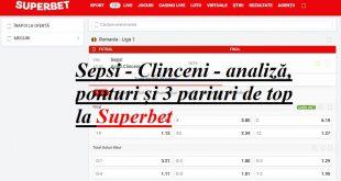 Sepsi - Clinceni - analiză, ponturi și 3 pariuri de top la Superbet