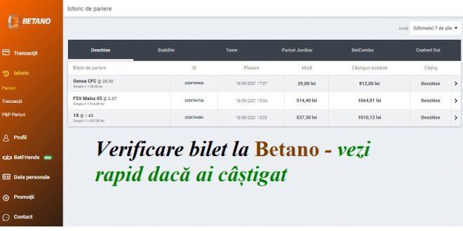 Verificare bilet la Betano - vezi rapid dacă ai câștigat